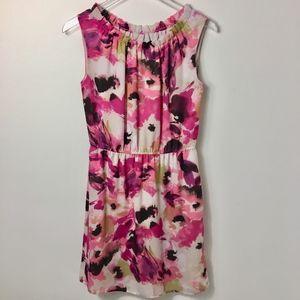 Loft Pink Floral Sleeveless Dress OP